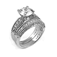 Sterling Silver Wedding Ring Set With Round Cubic Zirconia in Four Prong Setting with Paved Sides