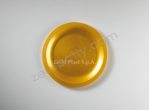 Round Collection Piatto da dessert, Plastica, Oro, Confezione da 25