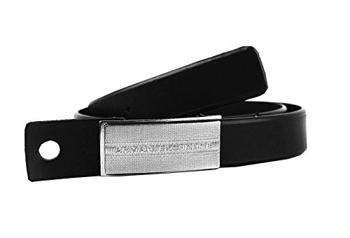 AX-ARMANI-EXCHANGE-BLACK-SILVER-TONE-BUCKLE-125-BELT-LEATHER-NEW-SIZE-34-25