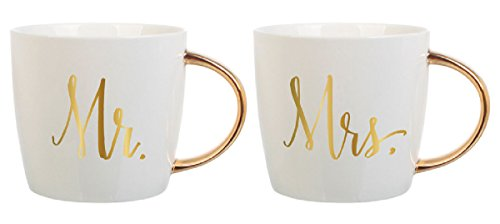 Slant Set of 2 14 Oz Ceramic Coffee Mugs - Mr & Mrs (Mr And Mrs Coffee Mugs compare prices)