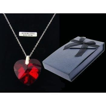 Red Heart Pendant on Sterling Silver Chain Case Pack 3
