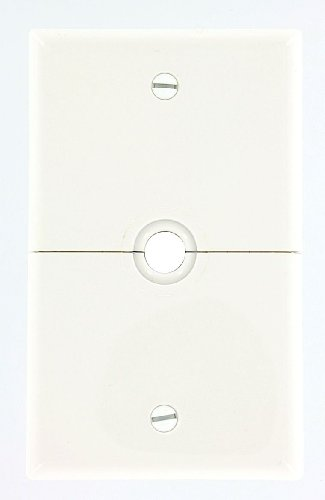 Leviton N751-W 1-Gang .625-Inch, Hole Device Telephone/Cable Wallplate, Box Mount, Horizontal Split Plate (White)