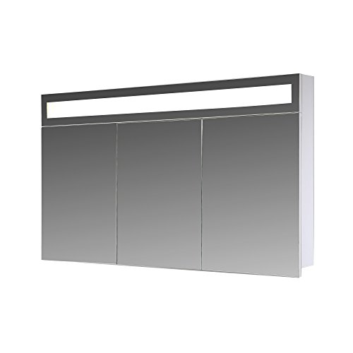 Eurosan-Paris-P100-3-triger-Spiegelschrank-Superflache-Integrierte-LED-Frontbeleuchtung-Breite-100-cm-Wei