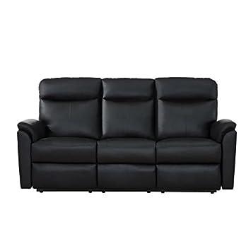 MAX Canapé de relaxation 3 places - Simili -Noir -Classique - L193xP95 cm