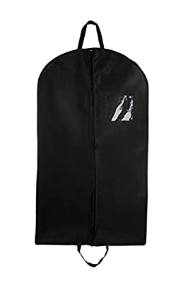 Bags for Less 42-Inch Foldover Breathable Garment Bag with Handles and Gusset - Black