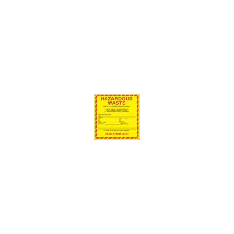 Regulated Labels   Hazardous Waste (vinyl) 6 x 6