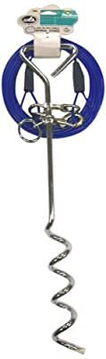 Pet Champion 18 Inch Spiral Stake and Standard 60 Pound Tie Out 25 Feet Cable Combo