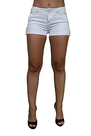 Butt Lift Super Sexy Stretch Denim White Shorts By Pasion PJ2-S-D077WHT (13)