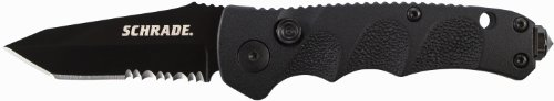 Schrade Sc60Mbts Mini Push Button Lock Partially Serrated Tanto Folding Knife