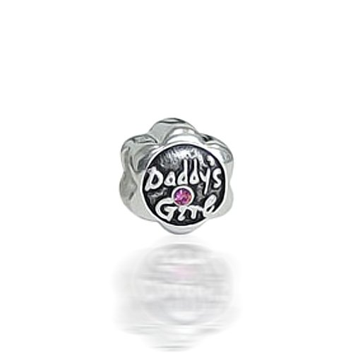 Bling Jewelry Daddy's Girl CZ .925 Sterling Silver Charm Bead Biagi Troll Chamilia Compatible