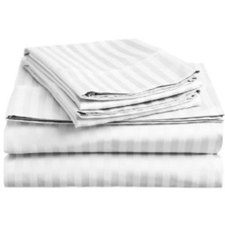 300 Thread Count 100% Cotton Dobby Stripe Sheet Set- Assorted Colors/sizes (Queen, White)