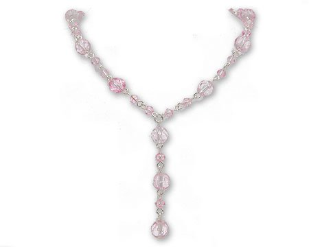 Light Pink Crystal Bead Y Necklace on Silver - Junior Bridesmaid Jewelry