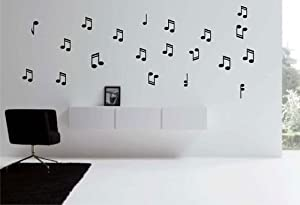 Music Notes Vinyl Wall Decal - White