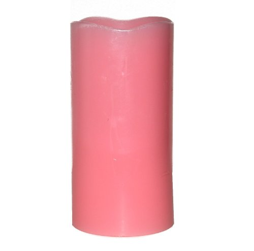Dfl 3*6 Inch Smooth Flameless Real Wax Pilliar Led Candle With Timer,Pink