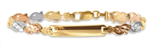14k Tri-Color Gold Teen Bracelet With Name Plate