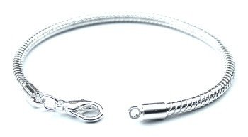 19cm silver plated snake bracelet with lobster clasp, to fit Pandora, Troll and Chamilia style, slide on slide off charms, 3mm thick chain