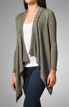 Splendid Melange Loose Knit One Button Cardigan (TIE6082) XS/Pine