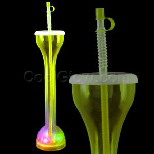 Fun Central G669 LED Light Up Drinking Bottle with Straw - Yellow
