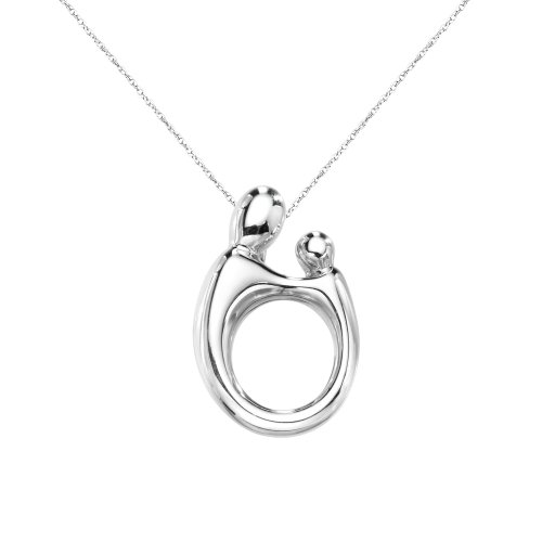 Duragold 14k White Gold Polished Mother and Child Pendant Necklace, 17