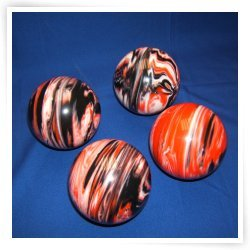 Premium Quality EPCO 4 Ball 107mm Tournament Bocce Set - Marbled Black/Orange...