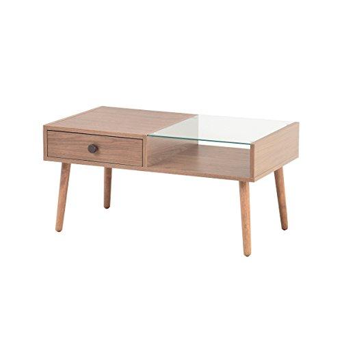 ブラウン/alum アルム センターテーブル ローテーブル ウッドテーブル ガラステーブル テーブル ロー コンパクト ガラス 机 引き出し 引出し ブラウン 収納 省スペース