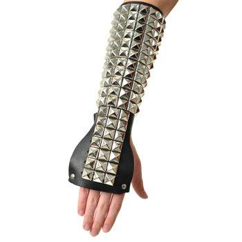 Pyramid Studded Gauntlet Wristband (Black)
