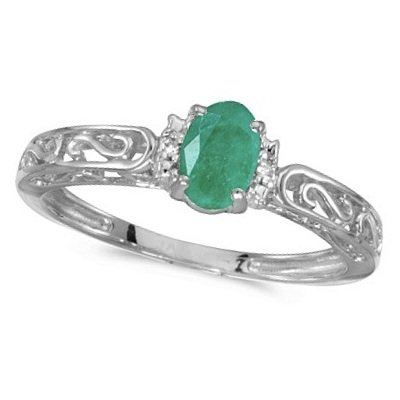 Oval Emerald and Diamond Filigree Antique Style Ring 14k White Gold