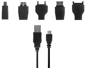 Kit Data - Cable de datos universal con USB y 5 conectores (compatible con Nokia, Samsung, Sony Ericsson, Motorola y LG)