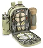 Ultimate Picnic Backpack for 2 (Green Tweed/Olive, Tan Blkt )