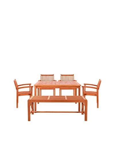 Vifah 6-Piece Sturdy and Large Rectangular Table Dining Set, Tan