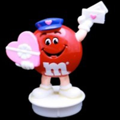 1995 M&Ms Red Mailman with Candy and Valentine Topper - 1