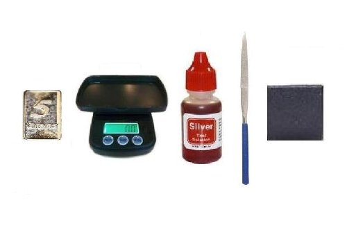 Complete Silver Testing Kit with 1 Bottle Test Solution, Electronic Coin Scale, Stone, File, and FREE 5gr Solid Silver Bar