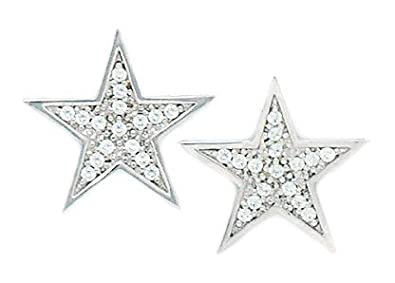 14ct White Gold CZ Big Star Fancy Post Earrings - Measures 16x16mm