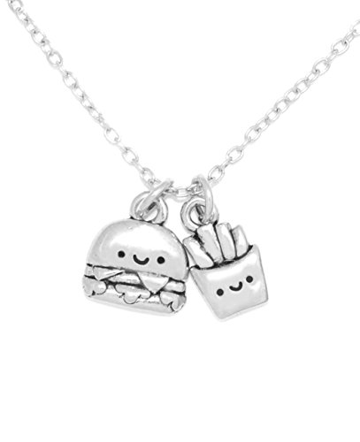 Clayvision Happy Hamburger and French Fries Foodie Charm Necklace (French Fry Necklace compare prices)