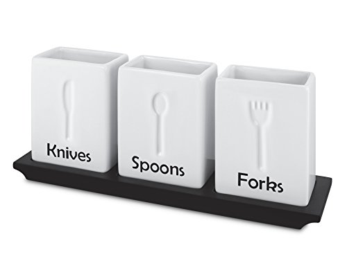 KOVOT Ceramic Utensil Caddy Set - Elegant Way To Organize Your Dining Utensils