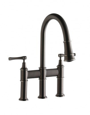 Elkay Explore Pull-Down Bridge Kitchen Faucet in Antique SteelLKEC2037AS