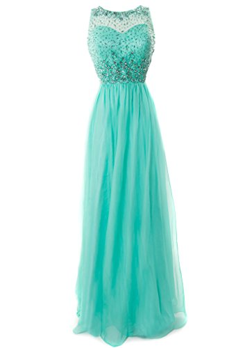 Fiesta Formals Long Chiffon Evening Gown With Gems On An Illusion Neckline - Mint - Xs