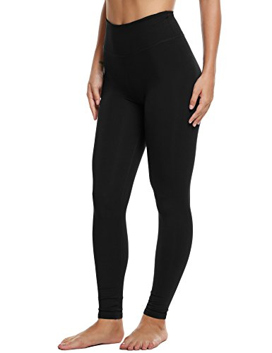 Ekouaer Women's Yoga Spandex Leggings Sports Pants Hidden pocket(Black,Medium)