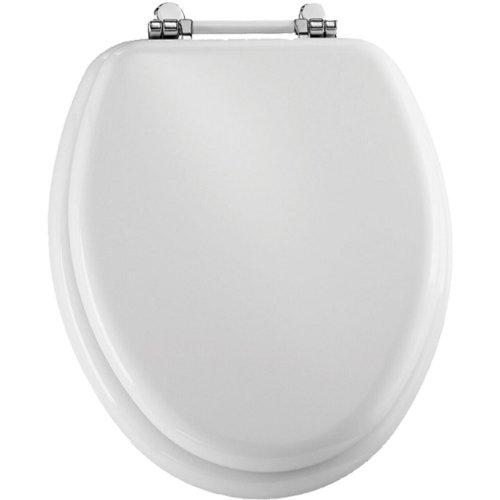 Bemis 1960PCH000 Molded Wood Retro Elongated Toilet Seat With ChromeWhite Hin
