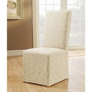 Sure Fit Scroll Full Dining Room Chair Cover, Champaign