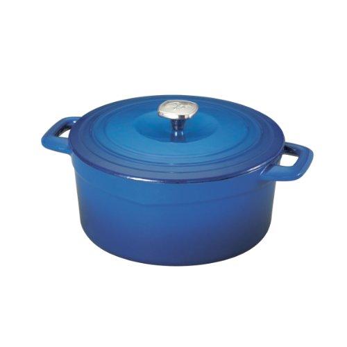 Guy Fieri 5099826 Porcelain Cast Iron Dutch Oven, 5-1/2-Quart, Blue front-94663