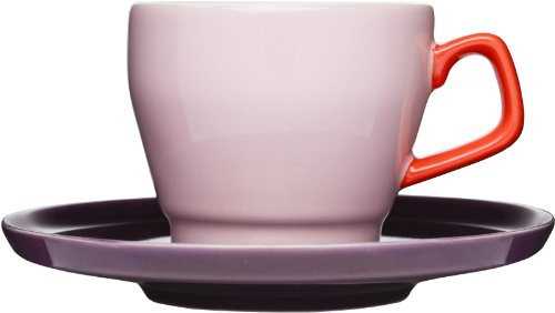 Sagaform POP Stoneware Coffee Cup and Saucer, 8-1/2-Ounce, Pink/Red/Plum