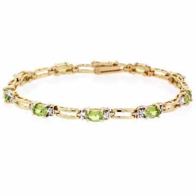 18K Gold over Sterling Silver Genuine Peridot and Diamond Accent Bracelet