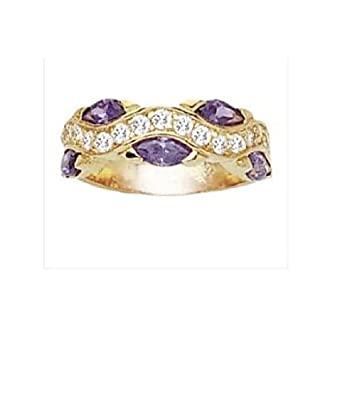 Simply Glamorous Jewellery And Gifts Shop - 18ct Gold Filled Half Eternity Amethyst And Clear Simulated Diamond Gemstone