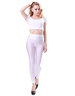 HDE Women's Shiny High Waist Leggings Stretch Spandex Tight Pants