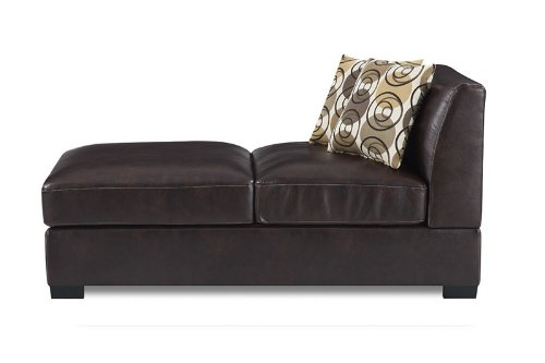 Armless Chaise with Accent Pillows in Coffee Leatherette
