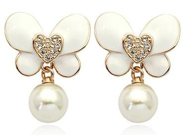 18K Gold Plated Swarovski Elements Crystal 10MM Pearl Butterfly Earrings-SE3377