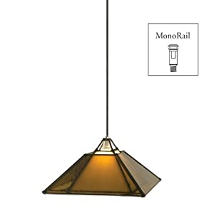 Wilmette Lighting 600MOOAKBNN Oak Park 1-Light 12-Volt Monorail Pendant, Polished Nickel Finished Hardware and Brown Glass