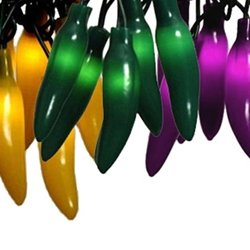 35 chili pepper mardi gras outdoor string lights. Black Bedroom Furniture Sets. Home Design Ideas