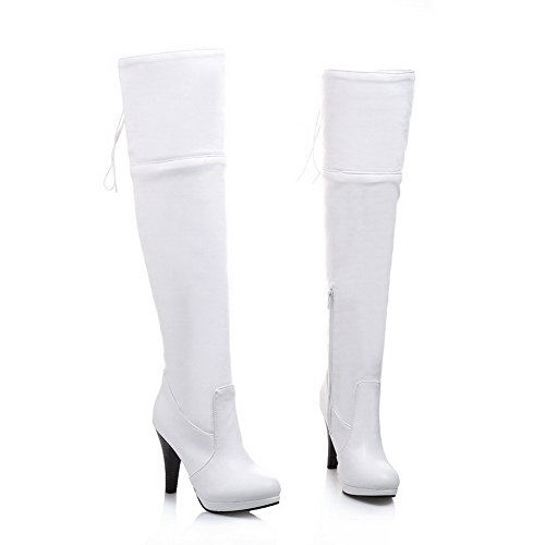 VogueZone009 Womens Round Closed Toe High Heels Spikes Stilettos PU Solid Boots with Foldable, White..